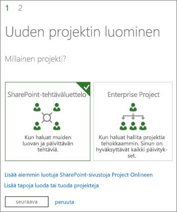Uuden projektin luominen