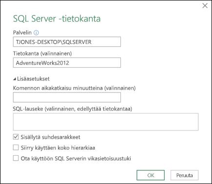 Power Queryn SQL Server -tietokannan yhteysvalintaikkuna