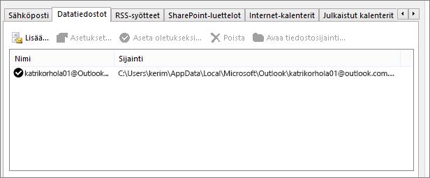 Outlookin Tilin asetukset -kohdan Datatiedostot-välilehti, jossa näkyy nimetyn käyttäjän Outlookin datatiedostojen sijainti