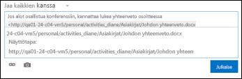 Uutissyötteen viestiin liitetty tiedoston URL-osoite