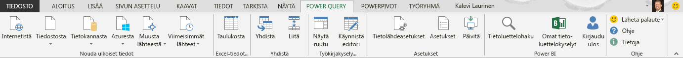 Power Query -valintanauha