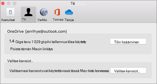 Näyttö kuva tilin lisäämisestä OneDrive-asetuksissa Mac-tieto koneessa