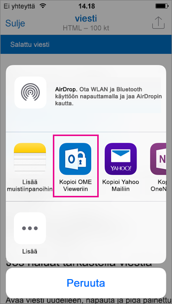 OME Viewer Outlookille iOS 3:lle