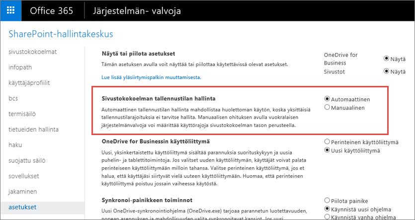 Office 365:n SharePoint Onlinen asetukset -näyttö, jossa Sivustokokoelman hallinta näkyy korostettuna