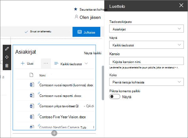 Luettelon verkko-osa SharePoint Onlinen esimerkki modernilla ryhmäsivustossa