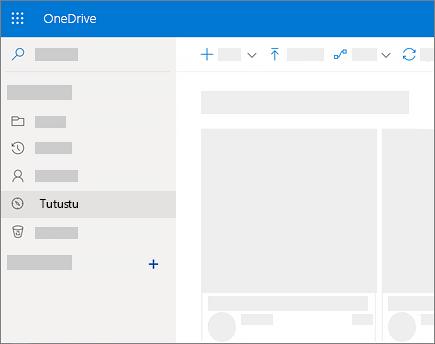 Näyttökuva Etsi resursseja -näkymästä OneDrive for Businessissa