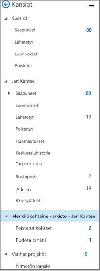 Outlookin siirtymisruutu, jossa Oma arkisto näkyy korostettuna