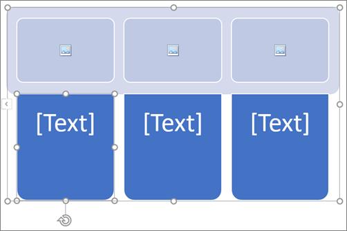 SmartArt-grafiikkaobjekti, jossa on kuvan paikkamerkkejä