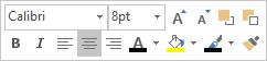 Tekstin muokkaamisen minityökalurivi tai Floatie