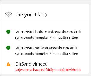 DirSync-tilan ruutu hallintakeskuksen esikatselussa