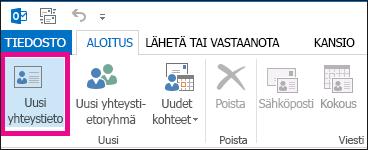 Yhteyshenkilö-välilehden Uusi yhteystieto -painike