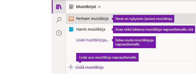 Muistikirjaluettelo OneNote for Windows 10:ssä