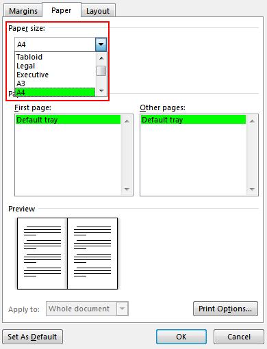 Valitse paperikoko Paperi-välilehdessä. Kirjasen lopullinen koko on puolet paperin koosta. Varmista, että tulostimessa on oikeankokoista paperia.