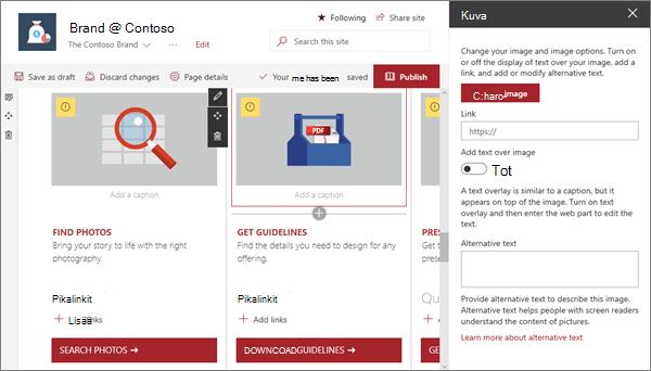 Esimerkki kuvan verkko-osan syöte modernin tuote merkin sivustolle SharePoint Onlinessa