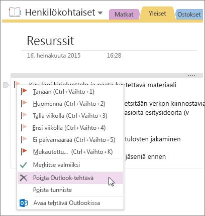 Näyttökuva Outlook-tehtävän poistamisesta OneNote 2016:ssa.
