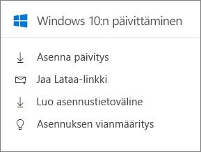 Windows 10-päivityksen kortin hallintakeskuksessa.