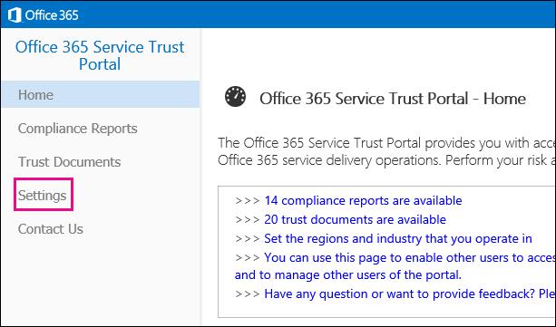Service Trust Portal -valikko Asetukset-vaihtoehto korostettuna vasemmalla.