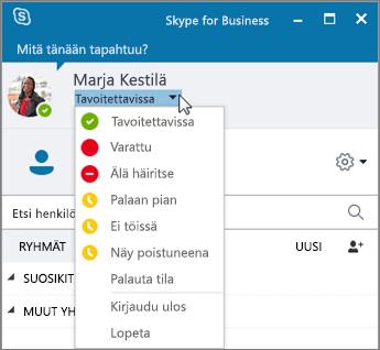 Näyttökuva Skype for Business -ikkunasta, jossa Tila-valikko on avoinna.