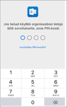 Kirjoita iOS-laitteen PIN-koodi, jotta voit käyttää Office-sovelluksia.