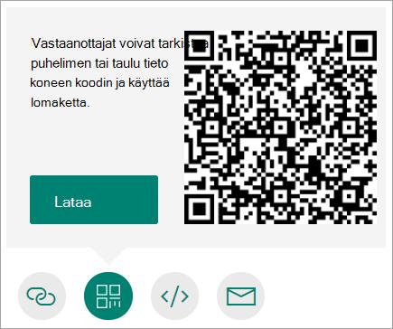 Puhelimella tai tabletilla luettavan QR-koodin lähettäminen puhelimeen