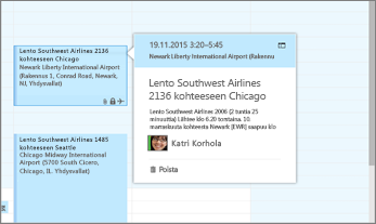 Näyttökuva, jossa näkyy lentotietoja Outlookissa.