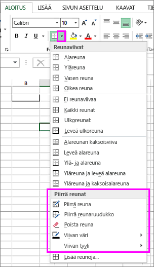 Avattava Reuna-valikko, josta voi valita reunaviivan piirtämisen vaihtoehdot
