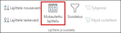 Excelin mukautettu lajittelu -asetus Tiedot-välilehdeltä
