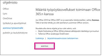Työpöytäsovellusten määrittäminen toimimaan Office 365:n kanssa