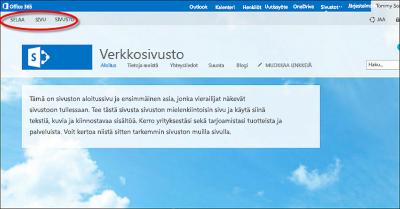 Office 365 -julkisen sivuston oletusarvoinen sivun asettelu
