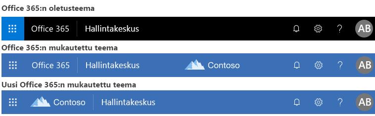 Esimerkki Office 365:n teeman muuttamisesta