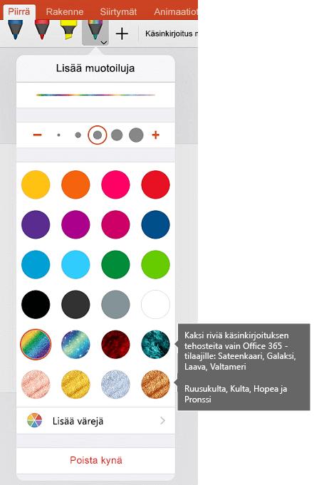 Käsinkirjoituksen väriä ja tehosteet piirustus, jossa on iOS käsin Officessa