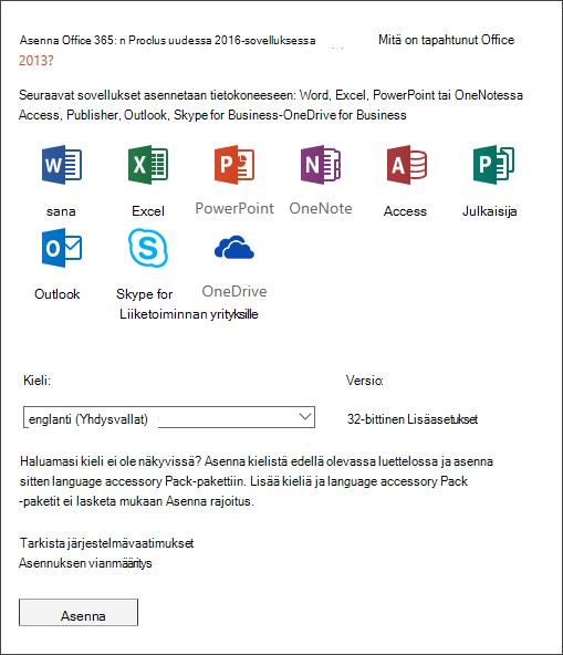 Jos saat tilaisuuden valita, valitse asennettava Office-versio, valitse kieli ja valitse sitten Asenna.