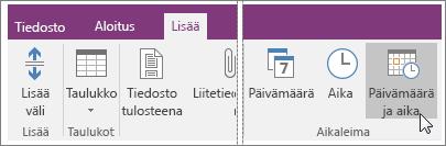Näyttökuva Päivämäärä ja aika -painikkeesta OneNote 2016:ssa.