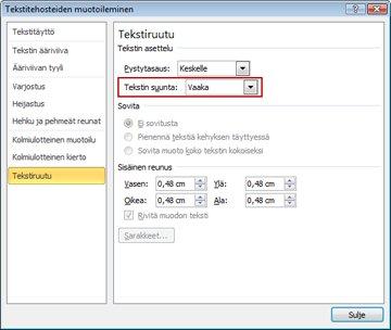 Tekstitehosteiden muotoileminen -valintaikkuna
