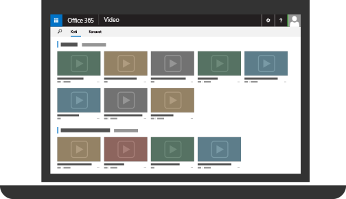 Office 365 Video ja monta ladattua videota