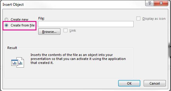 Lisää objekti -valintaikkuna, jossa on Luo tiedostosta -vaihtoehto valittuna