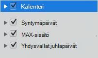 Kalenterin luokka-luettelosta