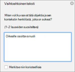 Excel 365 Kirjoita muotojen vaihtoehtoinen teksti-valinta ikkuna