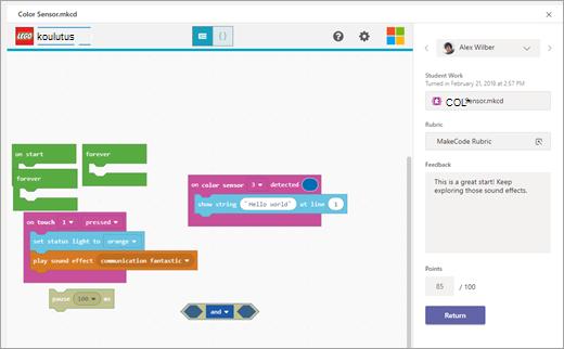 Opettajan MakeCode-tehtävän arviointinäkymä Microsoft Teamsissa