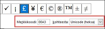 Mistä-kenttä kertoo, että tämä on Unicode-symboli