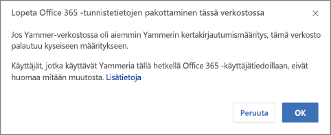 Näyttökuva vahvistusvalintaikkunasta, jolla lopetetaan Office 365 -käyttäjätietojen pakottaminen Yammerissa. Siinä ilmoitetaan, että Yammerin kertakirjautumistoiminto (SSO) käynnistyy uudelleen, jos se on määritetty aiemmin, ja että tämä ei vaikuta normaalisti Yammeriin Office 365 -käyttäjätietojen avulla kirjautuviin henkilöihin.