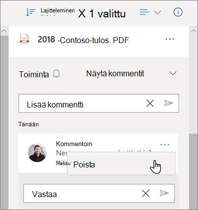 OneDriven tiedot-ruutu, jossa näkyy jaettuun tiedostoon jääneet kommentit ja kommentin poistamis vaihtoehto