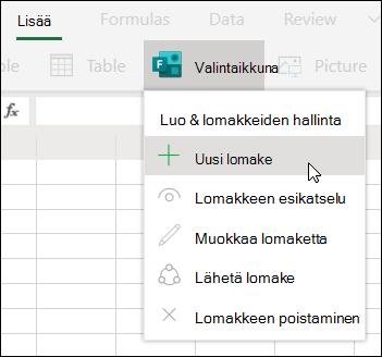 Uusi lomake -vaihtoehdon lisääminen Excel Onlinessa