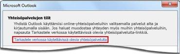 Linkki Outlook Social Connector ‑toimittajien sivuun