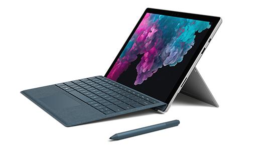 Surface Pro 6, type cover -näppäimistö ja Surface-kynä
