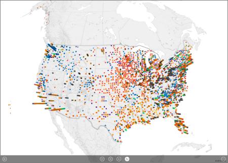 Uudelleen toistumaan määritetty Power Map -esittely