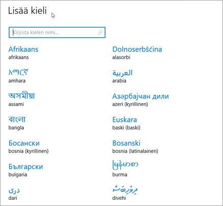 Kielen lisääminen