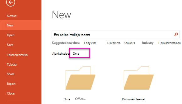 Valitse mukautettu, jos haluat käyttää luomaasi mallia uusi tiedosto-sivulla.