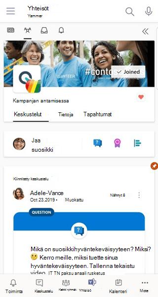 Teamsin Keskustelut-sovelluksen käyttäminen Yammer mobiiliversiossa