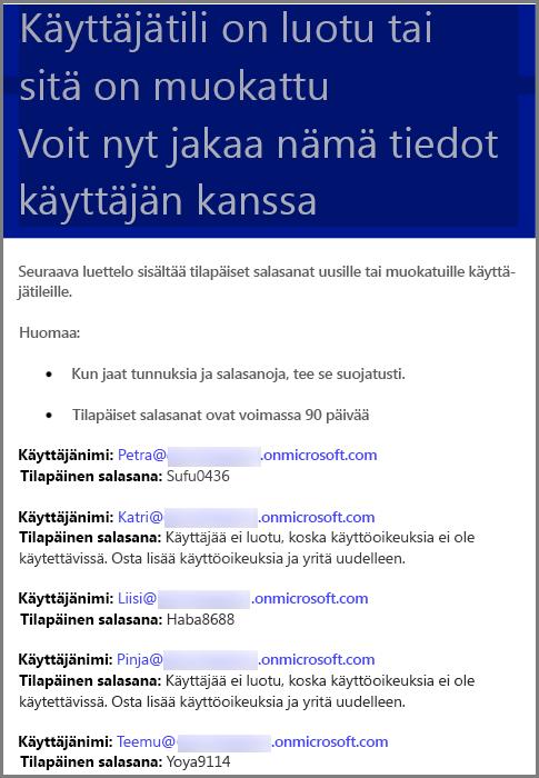 Esimerkkisähköposti, jossa on käyttäjän tunnistetiedot